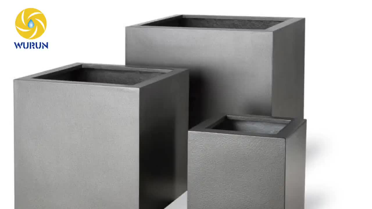 Brushed Stainless Steel Square Flowerpot Metal Planter Boxes Square