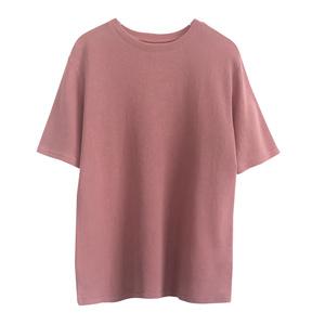 柔软水洗棉纯色中长款圆领短袖韩版