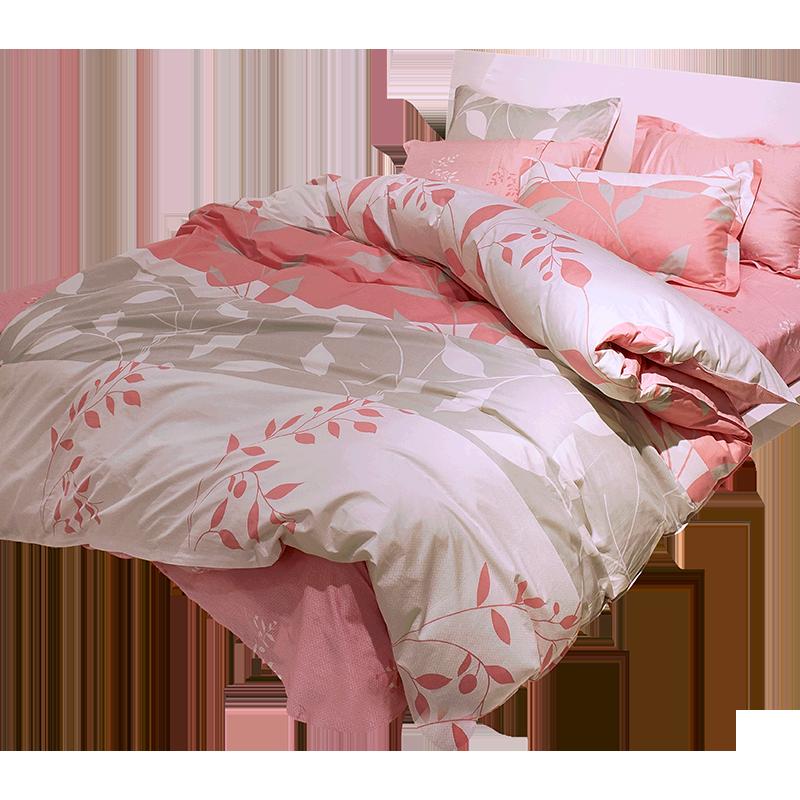 南极人纯棉全棉四件套1.8m床单被套三件套简约床品女网红床上用品