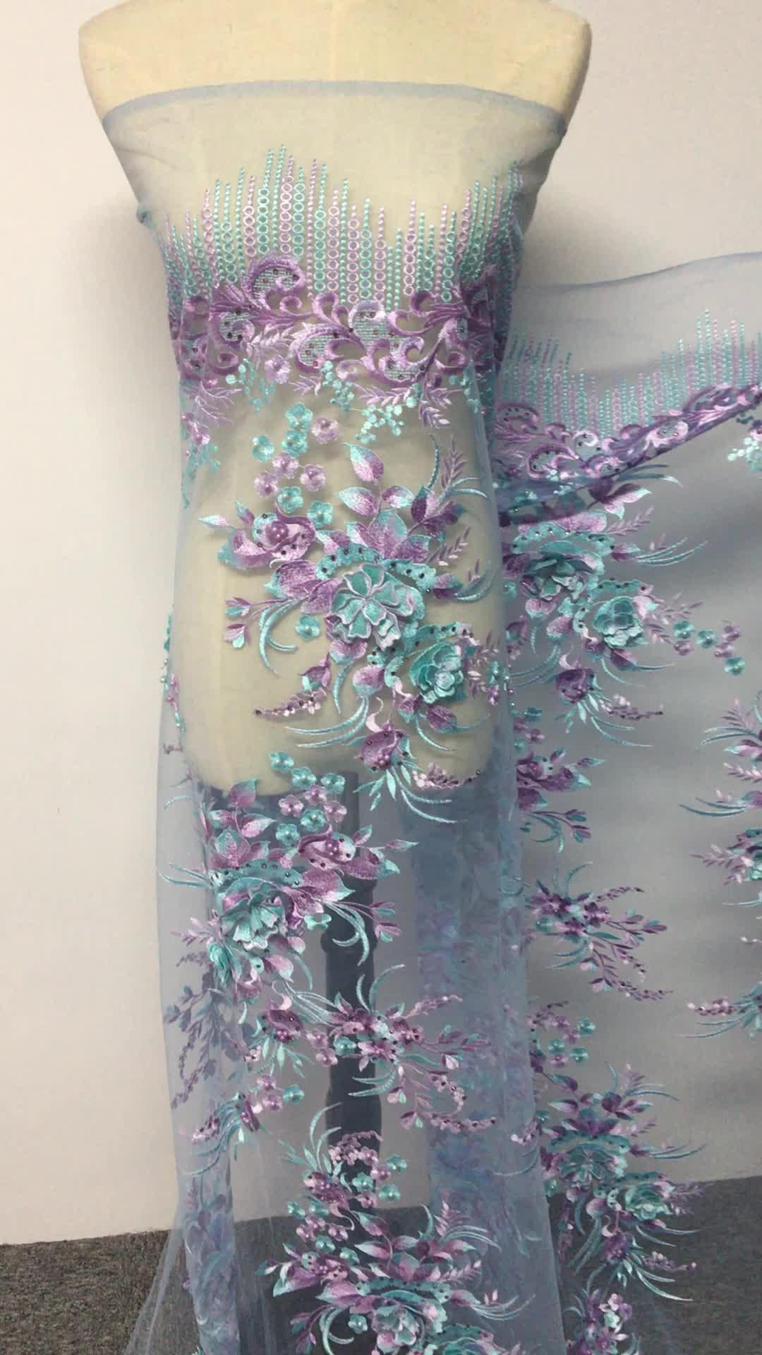2017 alta calidad Africana venta al por mayor de textiles lágrima color verde guangzhou personalizado bordado de encaje francés tejido