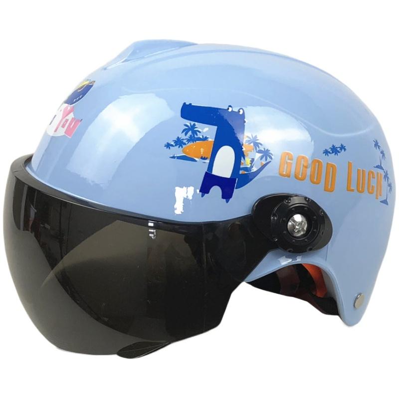 勇足儿童电动电瓶车头盔灰男女小孩夏季四季通用防风哈雷安全帽