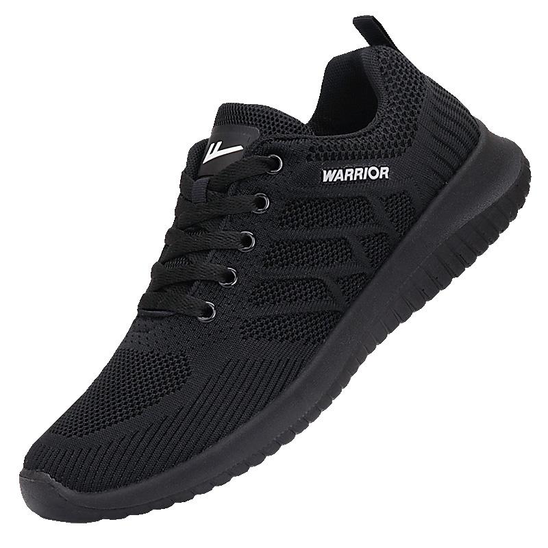 回力男鞋夏季透气运动休闲跑步鞋全黑色飞织网鞋超轻便网面鞋子男