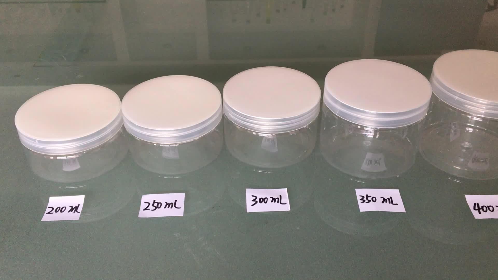 250ミリリットル透明petプラスチック化粧品瓶でアルミキャップ