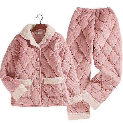 冬天三层夹棉袄珊瑚绒加绒保暖睡衣