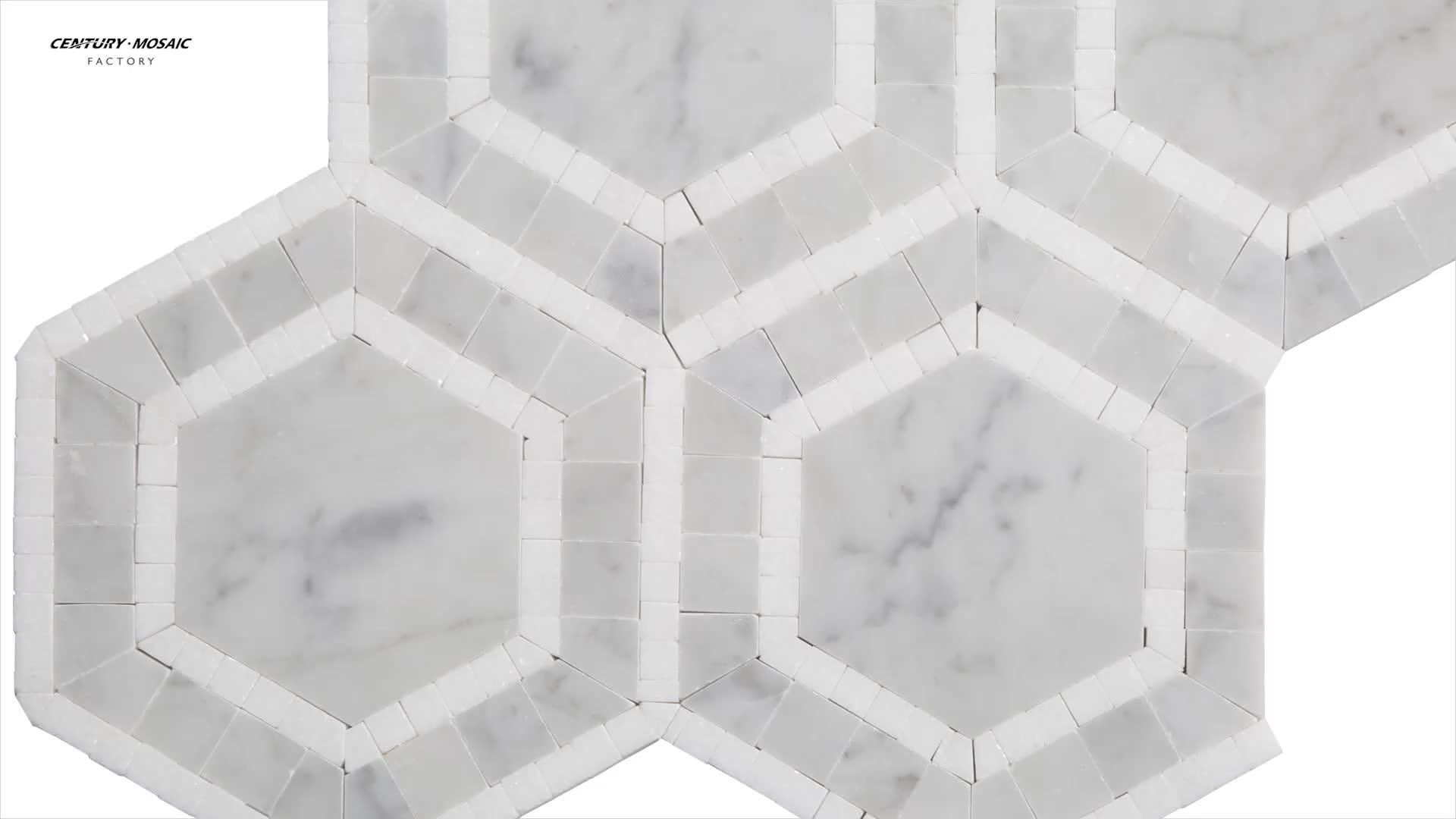 Carrara And White Thos Marble Hexagon Mosaic Bathroom Floor Tile Tiles Product