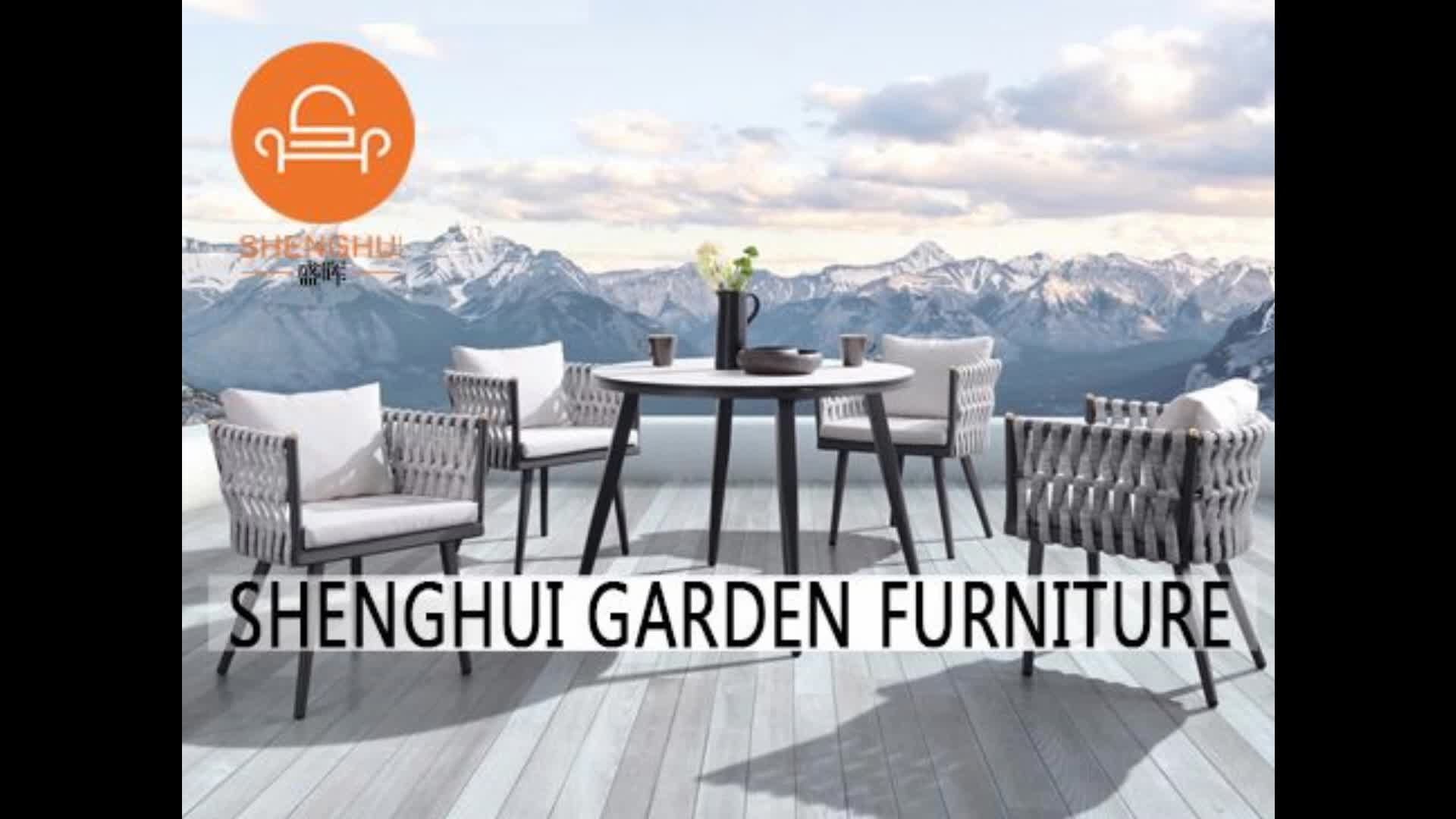 New Style Modern Metal Garden Waterproof Weave Fabric Dining Table And 4 Chair