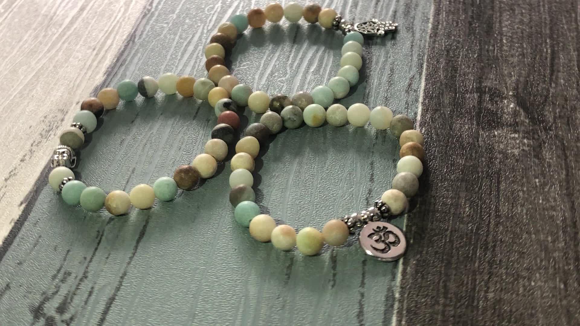 SN0957 Amazonite Bracelet Sets Men Stackable Matte Amazonite Beads Om Buddha Hamsa Hand Charm Bracelet Yoga Stack Bracelets