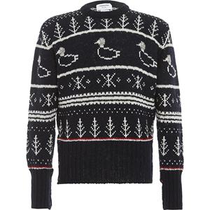 thom browne深蓝色羊毛抽象针织衫