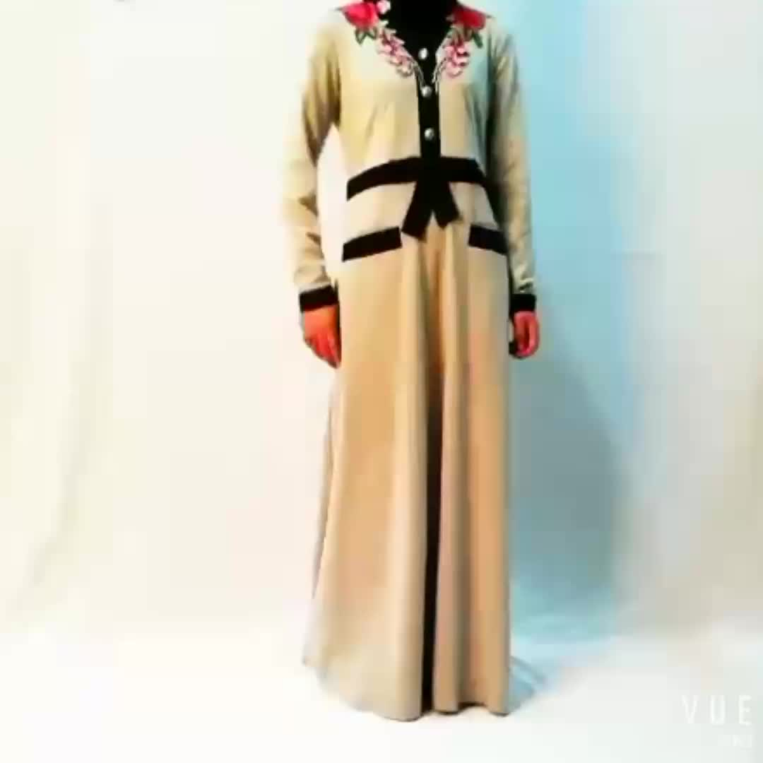 latest new model women islamic clothing muslim maxi long dress abayas kaftan with applique flowers for sale