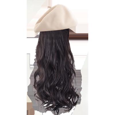 贝雷帽子假发一体女仿真长卷发时尚网红长发帽一体带潮流秋季冬天