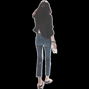 2020新款韓版秋冬chic直筒牛仔褲女復古九分微喇寬鬆顯瘦超火褲子