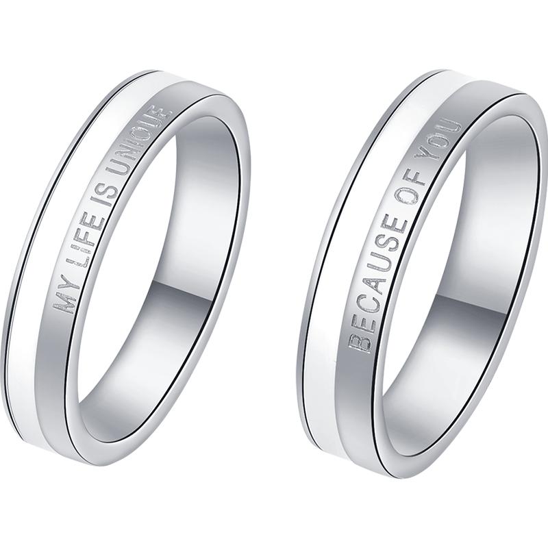 卡蒂罗情侣对戒男女一对简约轻奢纯银戒指小众设计生日礼物送女友