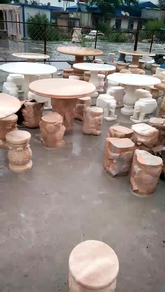 Custom stone park ornaments natural marble Garden table and chairs