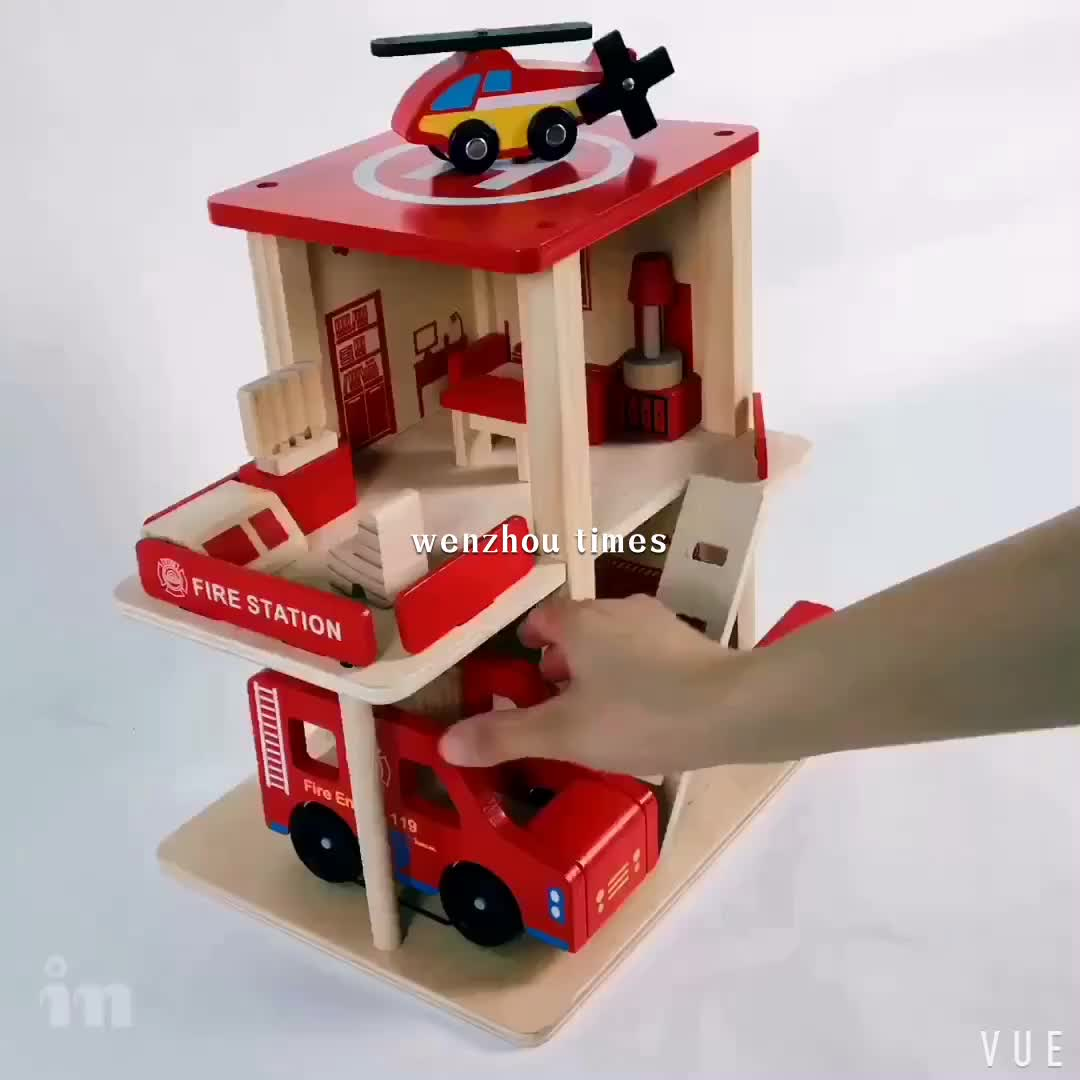 Wooden Toys Product : Wholesale cheap toy fire station wooden garage