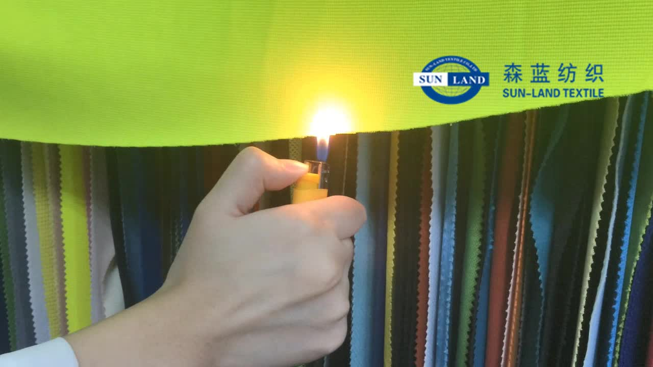 function knit polyester spandex HV yellow anti-flaming fabric