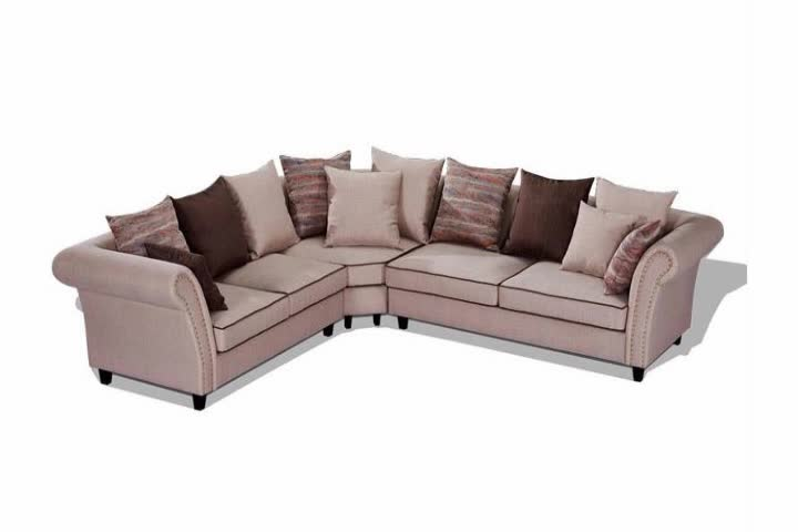 Fabric corner sectional recliner sofa design with wood - Wooden corner sofa designs ...