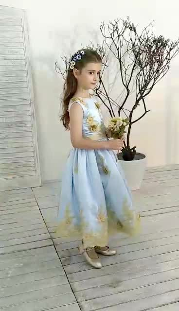 2018 New Flower Girls Dresses For Wedding Embroidered lace Formal Girl Birthday Party Dress Princess Ball Gown Kids Vestido
