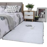 纯白长毛绒客厅茶几卧室地毯床边使用评测分享
