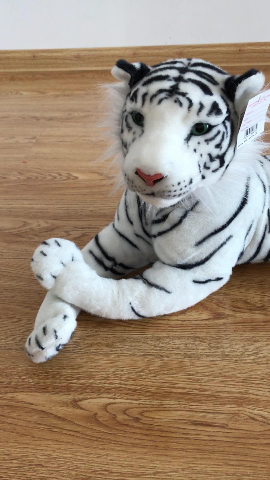 Realistico Della Tigre Di Peluche Farcito Sdraiato Tigre Bianca