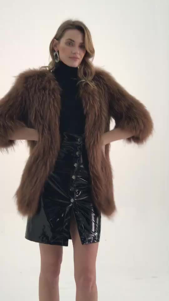 Chinese Manufacturers Wholesale top brand long raccoon knitted lady fur coat