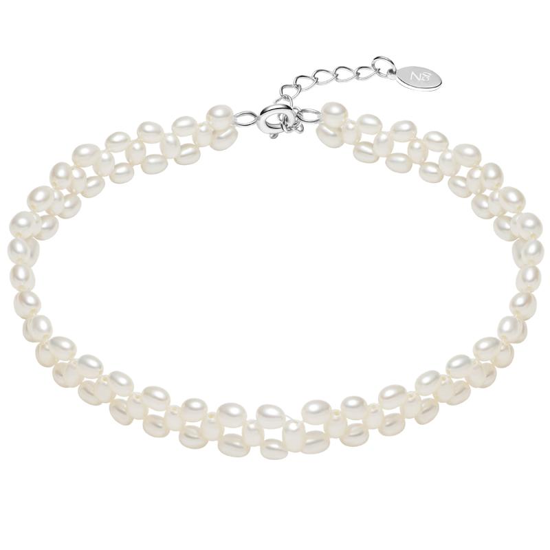 京润珍珠手链织梦强光淡水珍珠3-3.5mm米形简约精致三层银扣