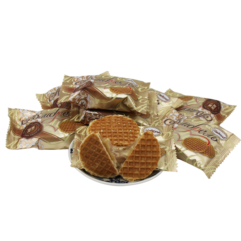 俄罗斯进口夹心蜂蜜饼干拉丝饼干农庄甜食零食美味女士喜爱500克