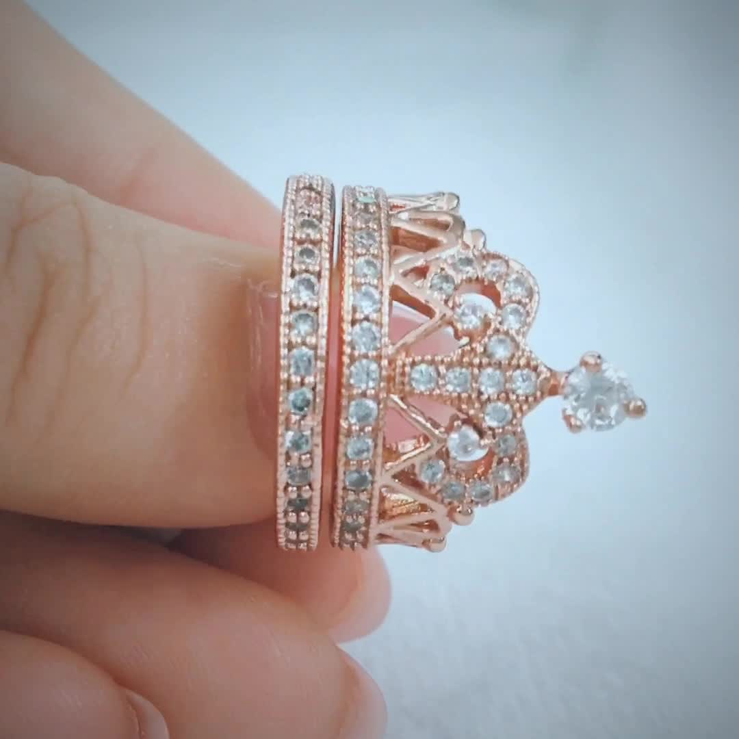 2SHE fashion jewelry women sterling silver crown shaped ring