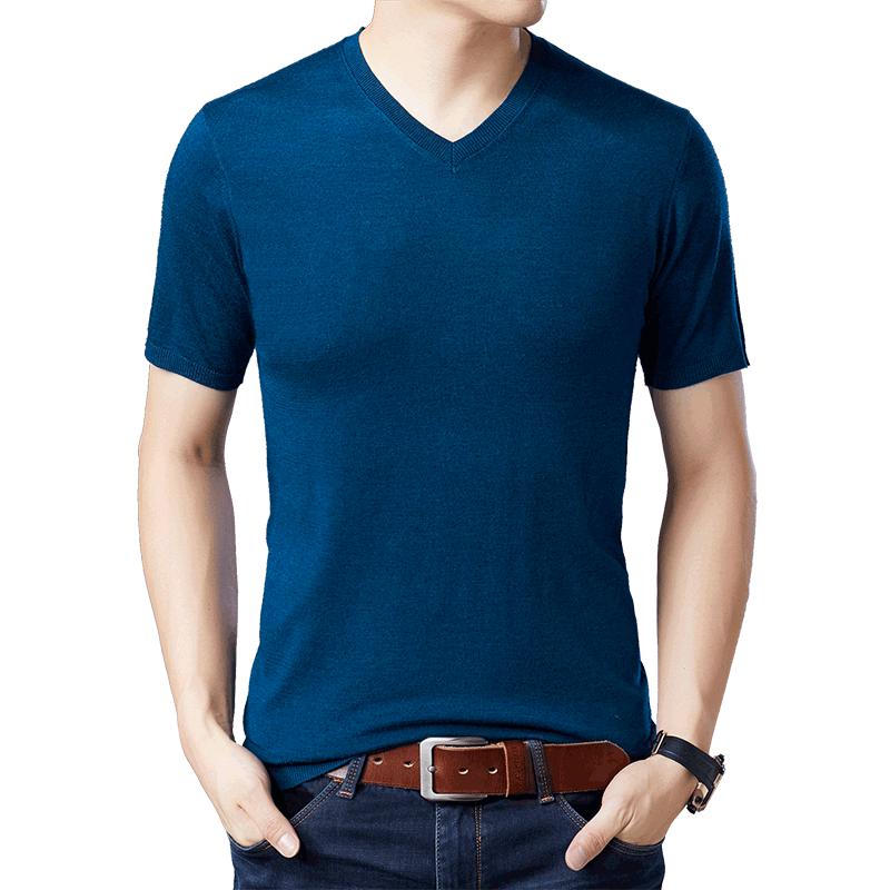 恒源祥针织短袖t恤男潮流修身V领夏装薄款男士半袖冰丝体桖衫纯色