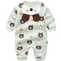 春秋婴儿新生连体衣纯棉女宝宝男爬服衣服秋装哈衣6睡衣3个月0岁1
