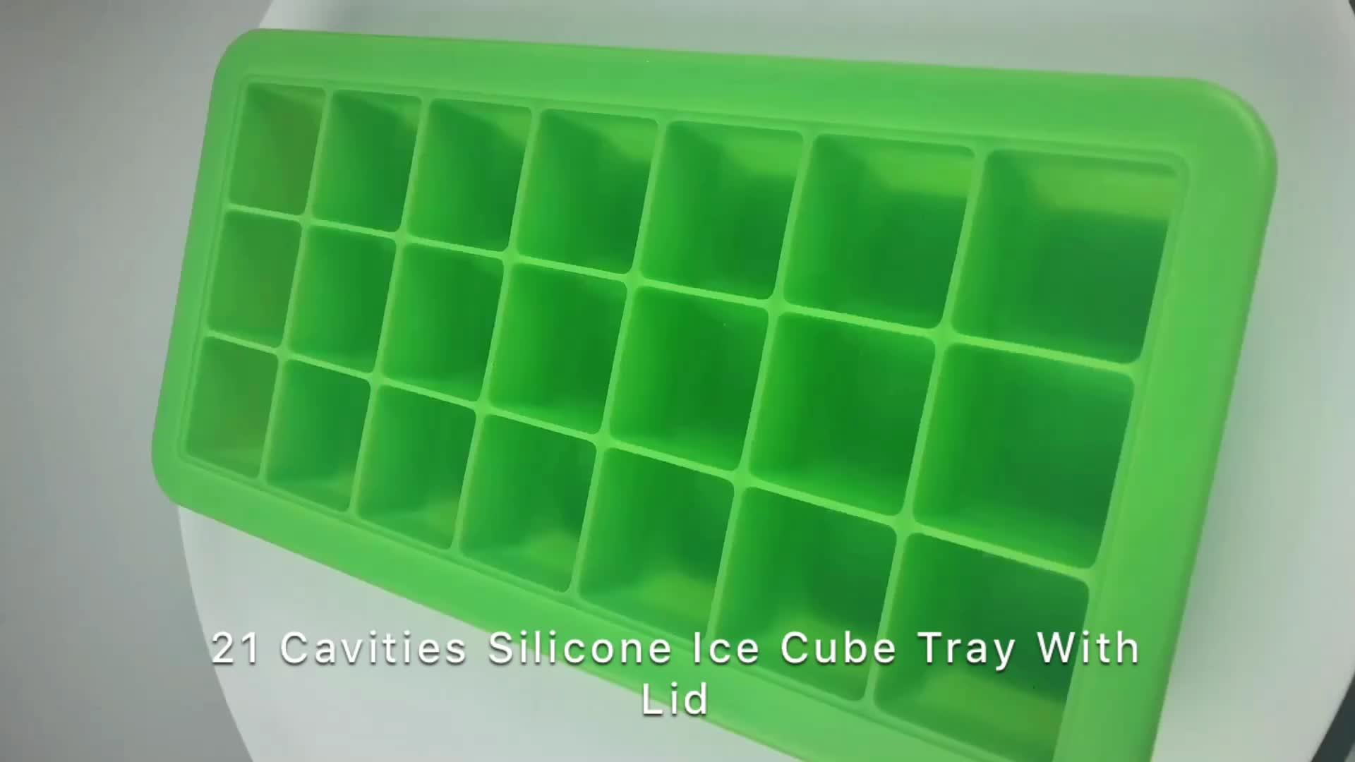 custom congelatore vassoio con coperchio di silicone per alimenti per bambini cubetti di ghiaccio con coperchio