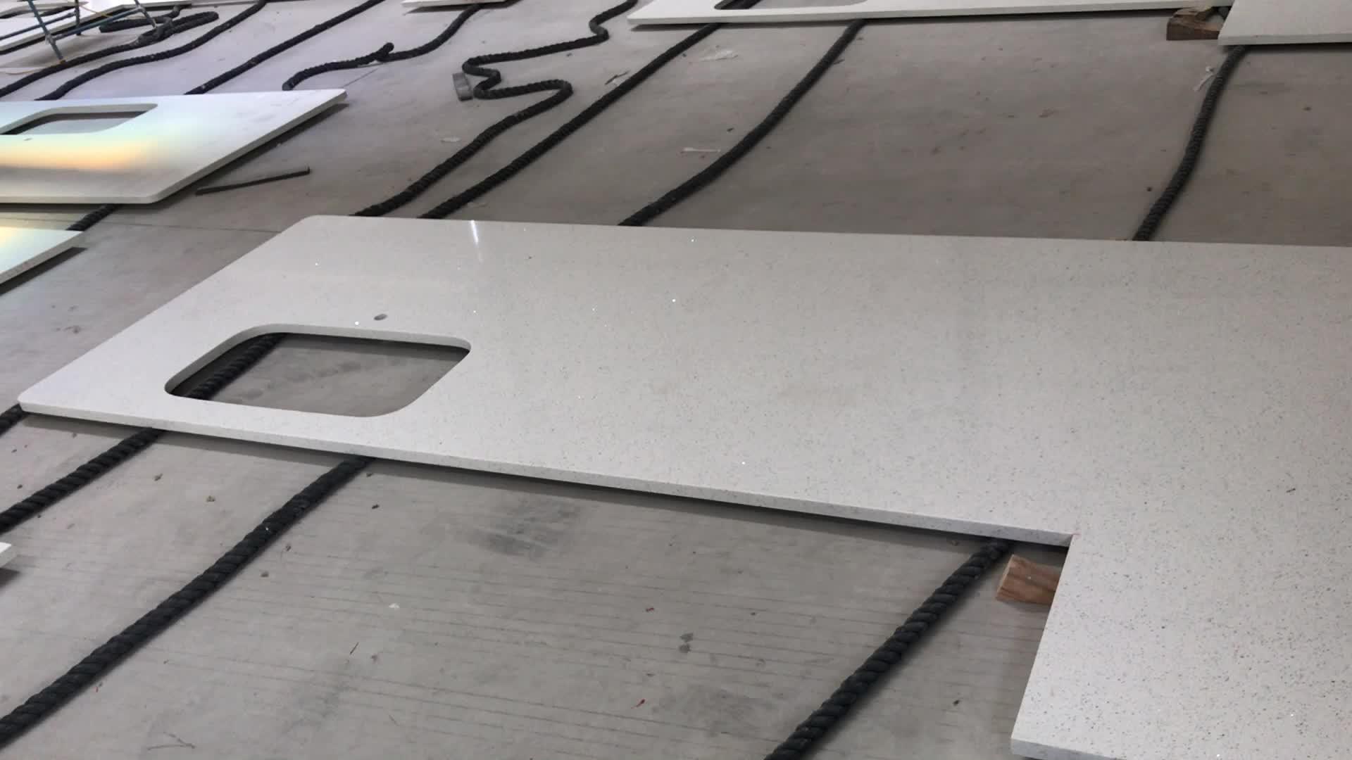 크리스탈 화이트 석영 싱크대, 주방 카운터 탑 석영 흰색