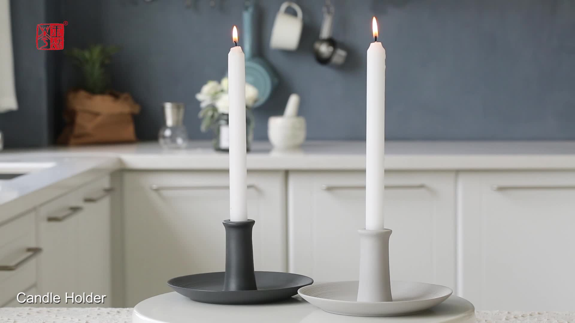 Church Tall Candlestick Holder, Vintage-Style Round Textured Wedding Candle Holder