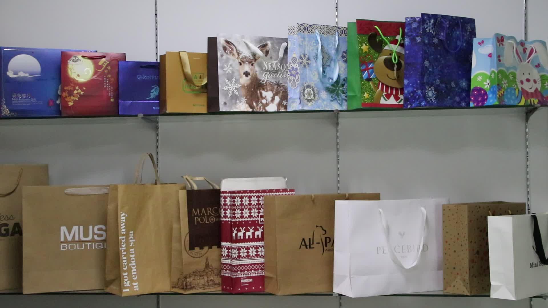Custom Logo Recycling Verpackung Shopping Braun Kraft Papier Tasche Mit PP Seil Griff