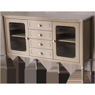 輕奢實木餐邊櫃多功能儲物櫃客廳收納櫃六門斗櫃一體餐邊櫃靠牆