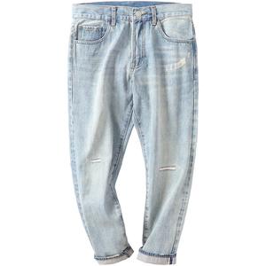 夏季锥形九分男士直筒宽松牛仔裤