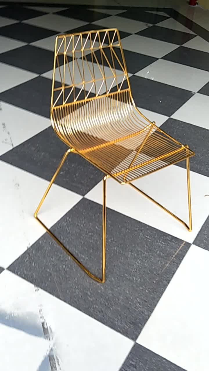 Mid Century Modern Yellow Gold Metal Bend Wire Lucy Side Dining Chair  Replica