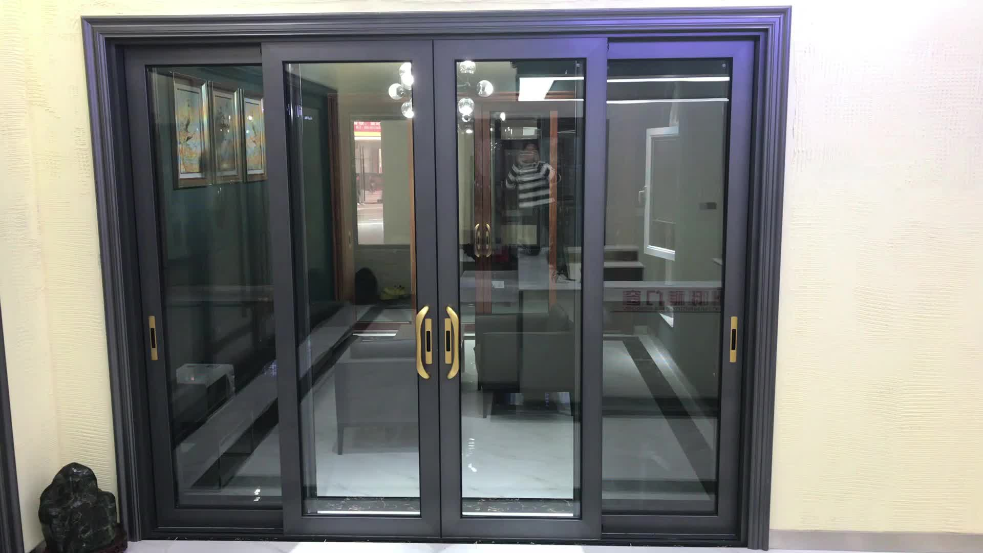 Aluminum soundproof sliding door room double glass door