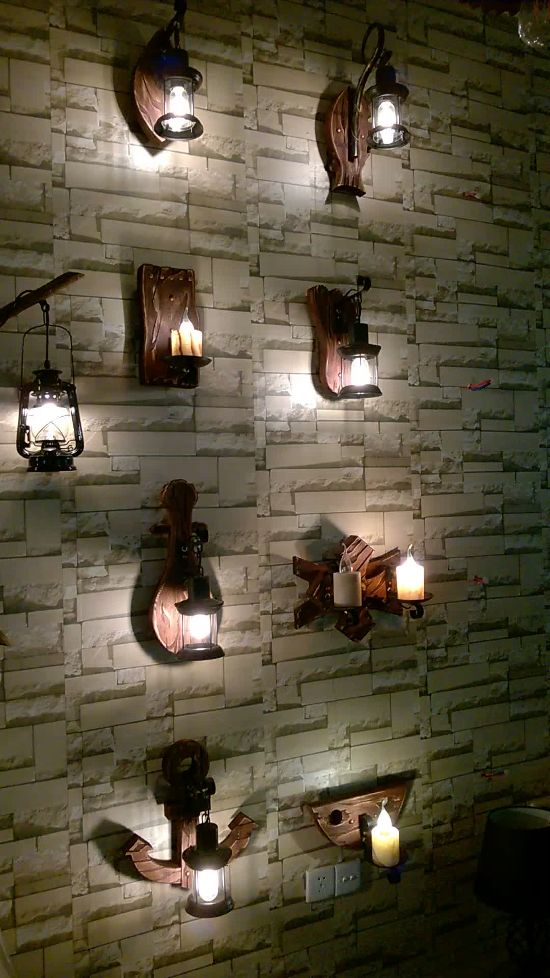 Indoor LED lighting dual wooden wall lamp wood decor