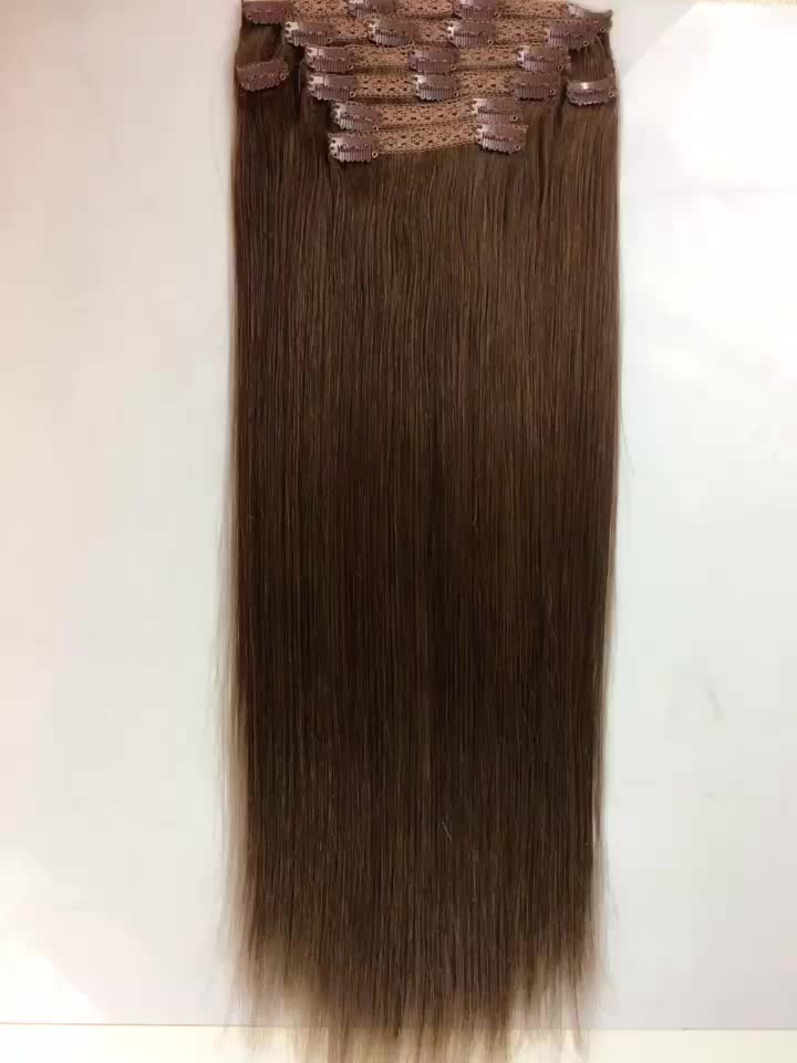 Wholesale 8a Black Color 16 30inch Straight 8 Piece Clip In Hair