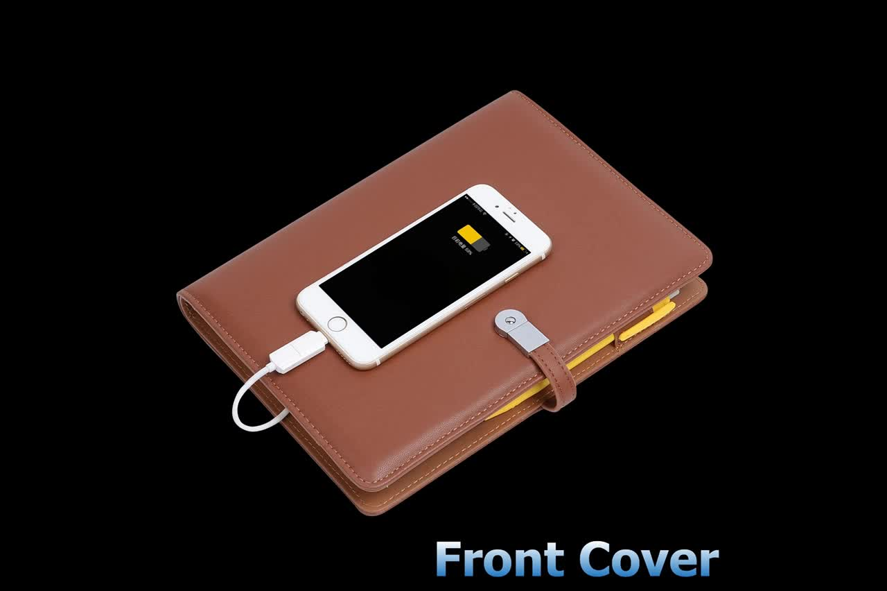 Popular Leather Notebook Power Bank Set with usb