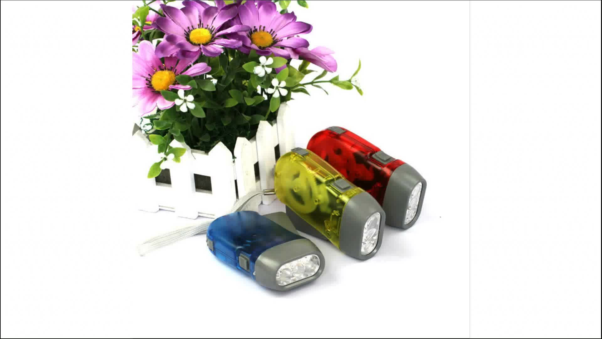 CYSHMILY Self Charging Children Cheap Promotional Mini 3 Led Hand Pressing Hand Crank Dynamo Flashlight