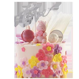 cakeboss櫻花小熊乳酪生日北京蛋糕