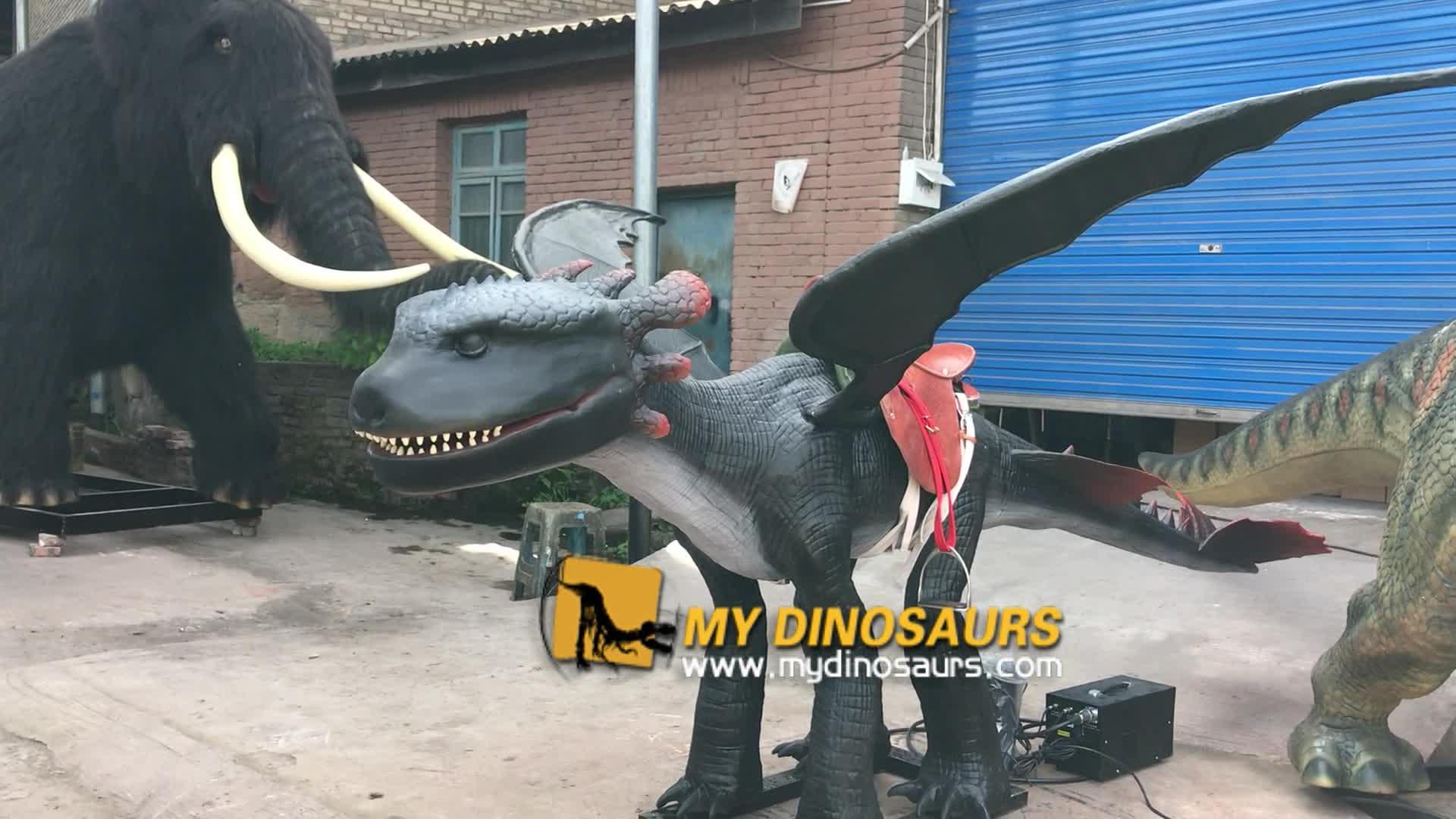 MY DINO-Q042 Animatronic Western Dragon Rides for Children Playground Equipment