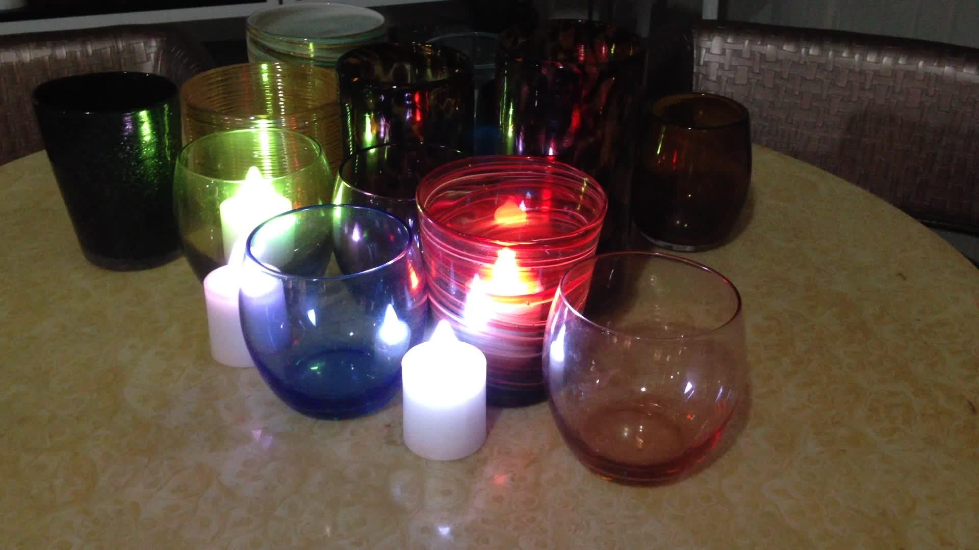 Kleur Veranderende Led Oplaadbare Thee Verlichting Met Afstandsbediening En Inductie Oplaadstation, Set Van 4