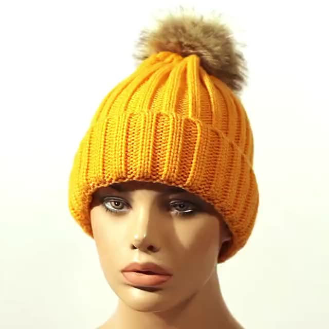 Family Knitting Keep Warm Hat Winter Mom And Baby fur pompom beanie hats
