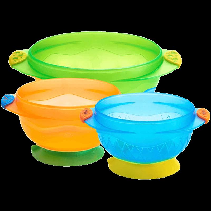 munchkin满趣健防摔强力吸盘碗防滑辅食碗婴儿3只装宝宝餐具便携