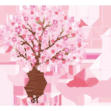 粉红樱花客厅卧室墙面装饰女孩墙纸