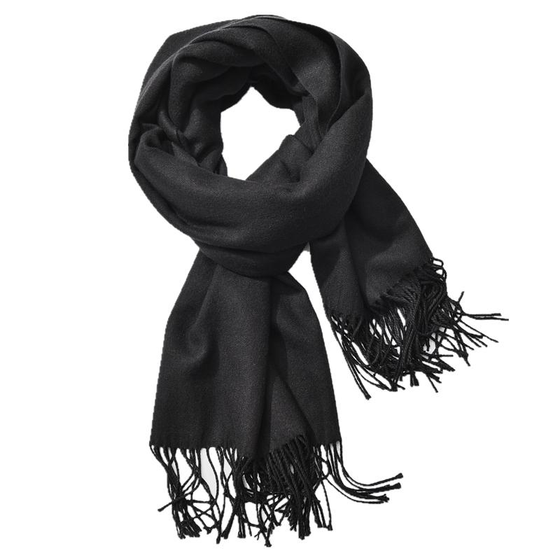 女围巾春秋冬季仿羊绒黑色灰色2020新款百搭薄款仿羊毛纯色男围脖