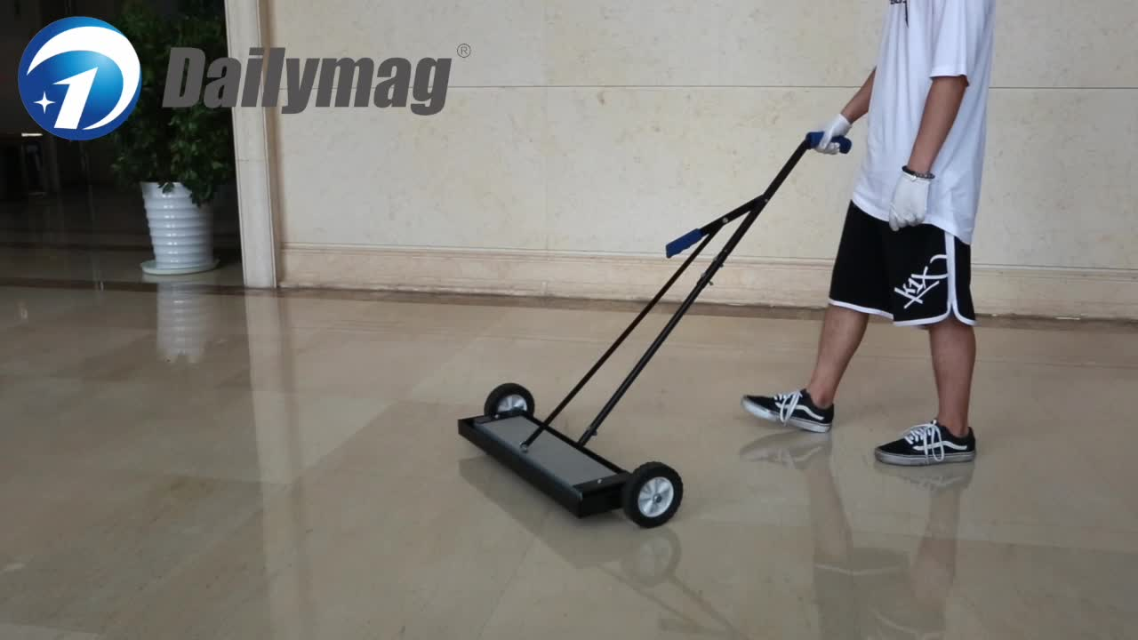 Heavy Duty Hand Push Magnetic Floor Road Sweeper Tool with wheels