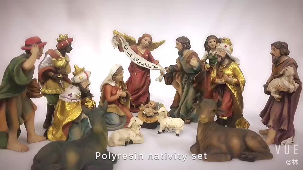Cusrom polyreisn religiosa statua presepe di natale set di natale in resina figurine decorazioni per la casa